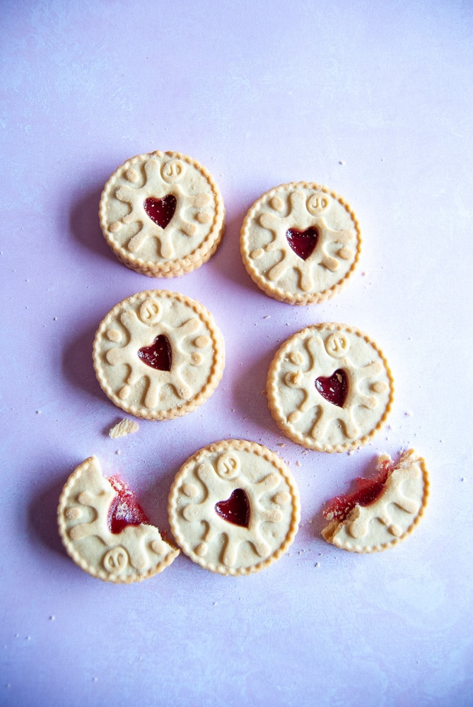 Jammie Dodger Biscuits on a pretty pink background