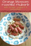 a bowl of roasted pink rhubarb on a bed of creamy Greek yoghurt sprinkled with chopped pistachios