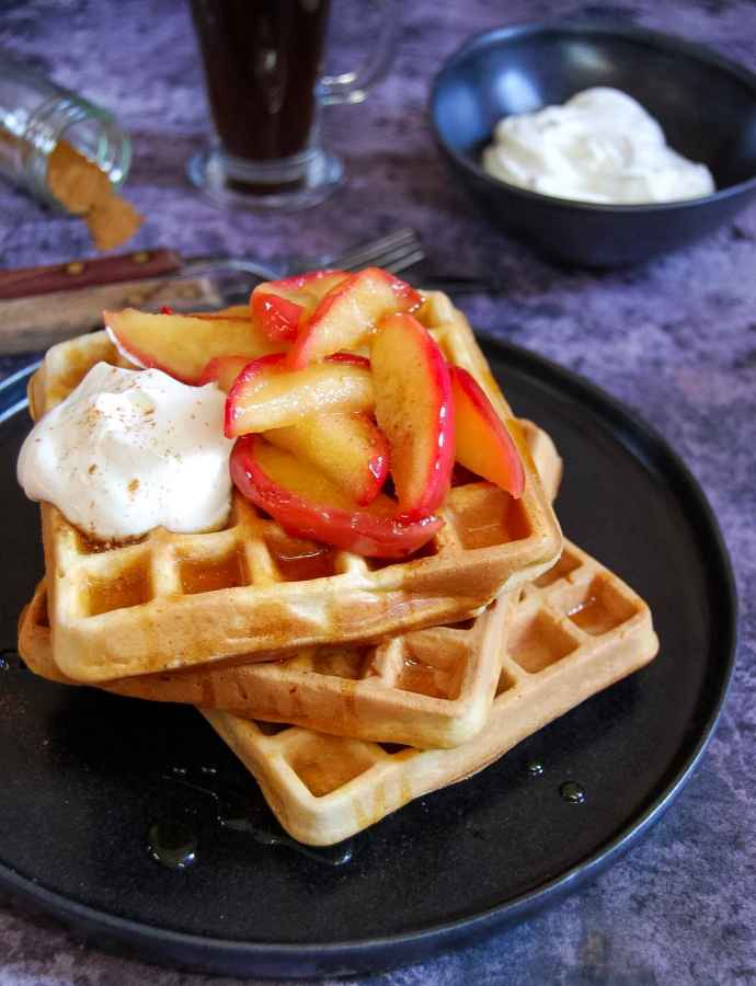 Buttermilk Cinnamon Waffles with Vanilla Apples