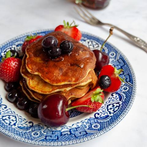 Sugar Free Banana Blueberry Pancakes