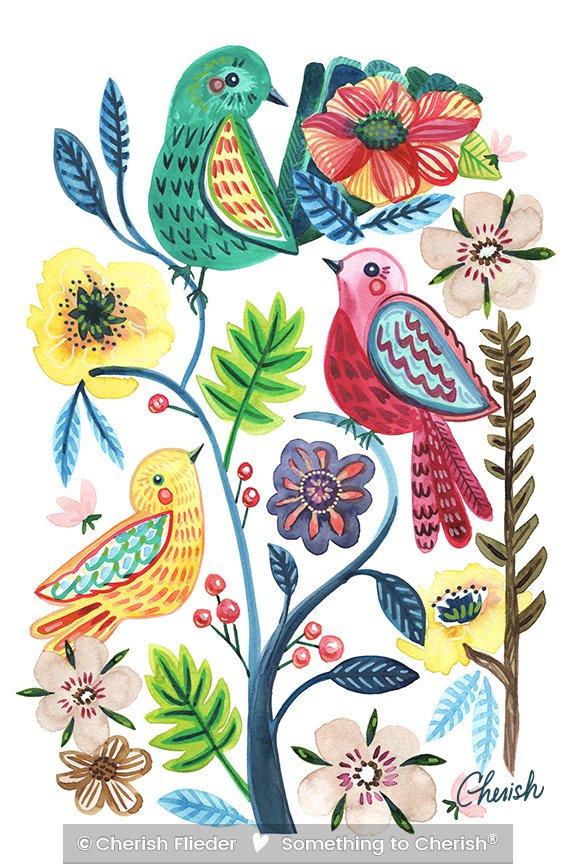 Birds C1711-01 Bright Whimsical Birdies © Cherish Flieder