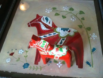 Dala horse art Sweden inspired