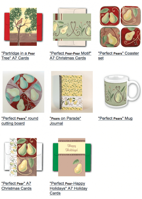 Pear Art, Pear Gifts, Pear Cards, Pear Coasters, the meaning of a pear tree