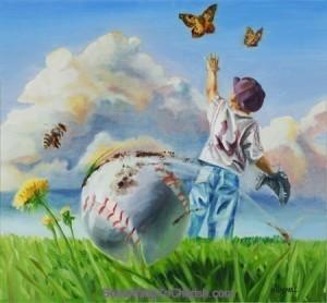 "Little league baseball print ""Right Field"" by Benjamin Hummel"