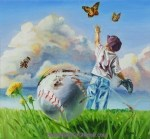 "Little league baseball print ""Right Field"" by Benjamin Hummel"