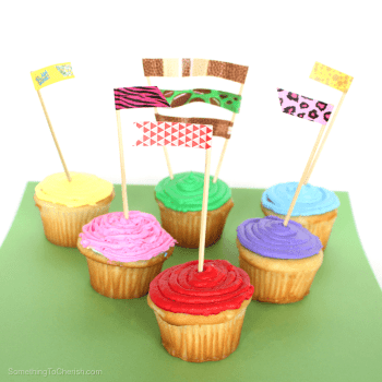 Transform plain cupcakes into a reason to celebrate with these easy to make washi tape embellishments.