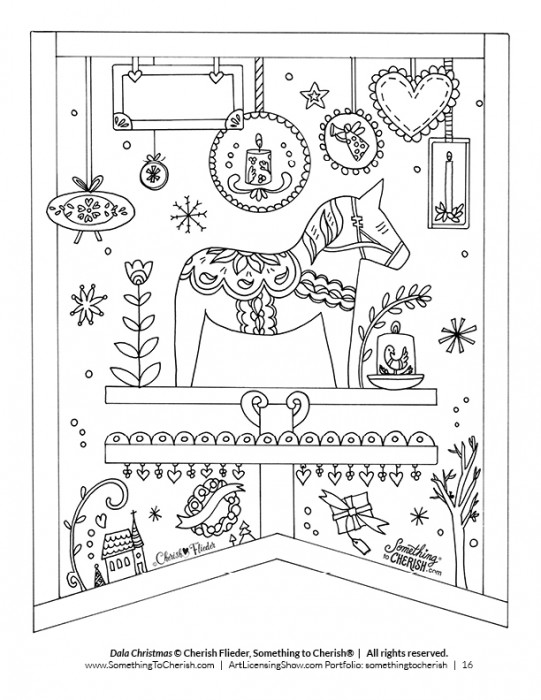 Dala Horse Christmas Coloring Page - Free Downloadable Illustration by Cherish Flieder of SomethingToCherish.com