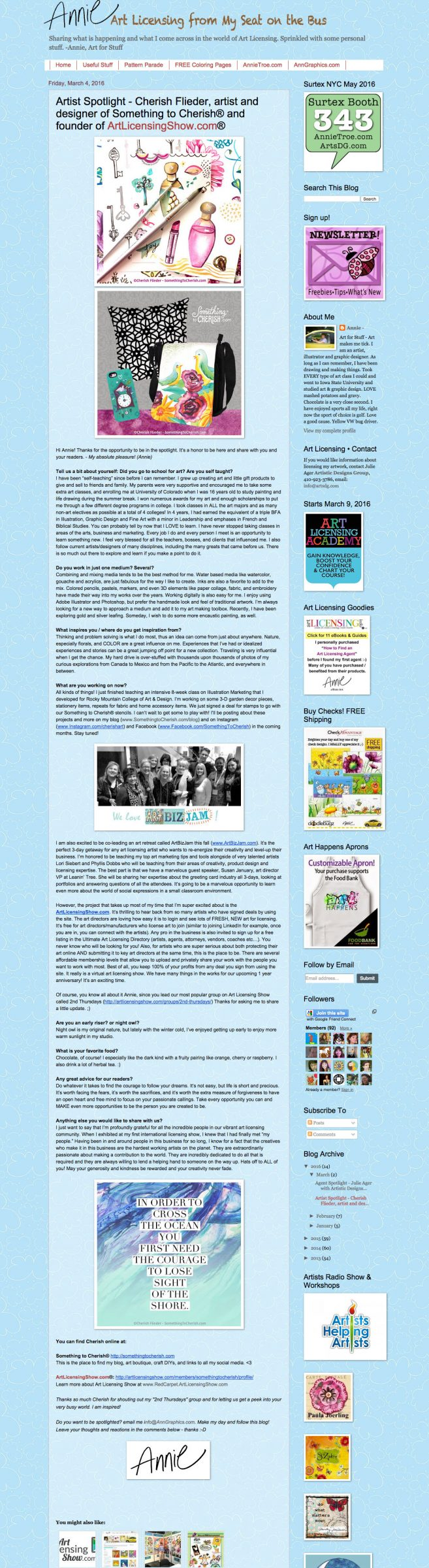 Art Licensing Spotlight Interview Cherish Flieder on Annie Troe Art Licensing Blog