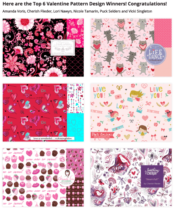 art-licensing-show valentine's day fabric art challenge winners-2016