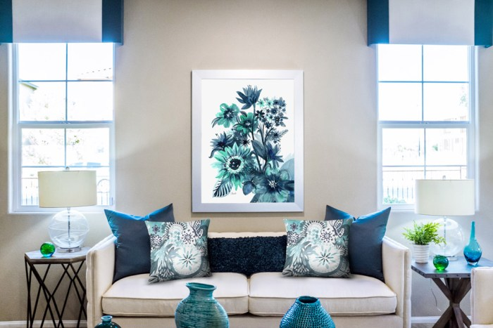 Indigo Turquoise Aqua Floral Watercolor Print and Accent Pillows by Cherish Flieder Rug Wall Hanging - Something to Cherish