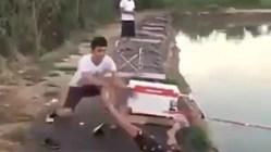 fish pulls fisherman