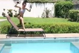 Woman slips into pool