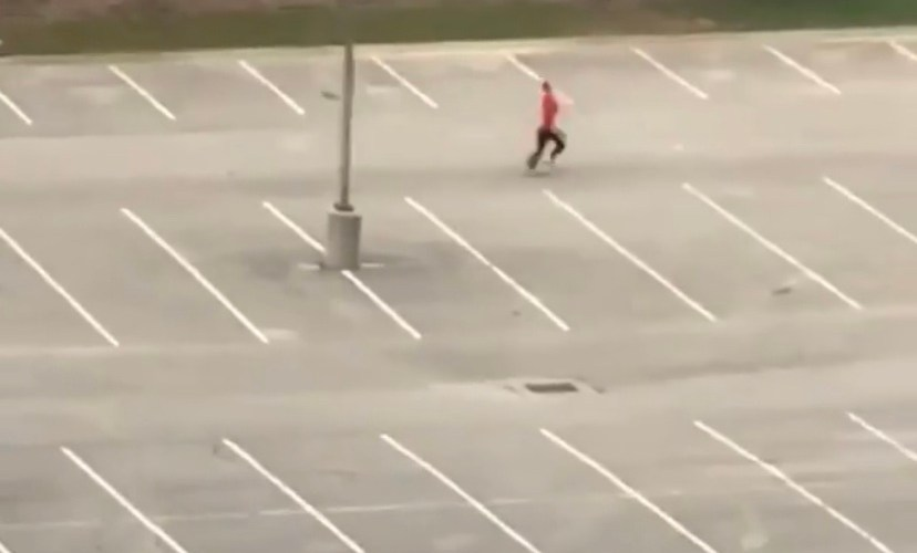 sprinting in hotel parking lot
