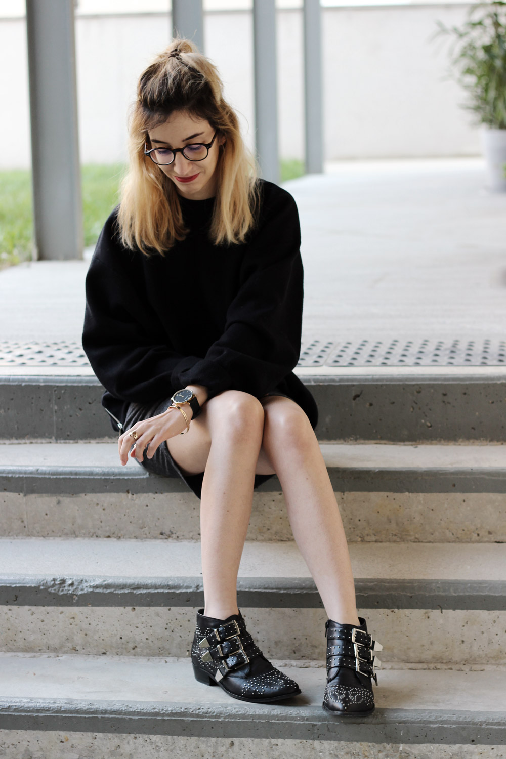 look-sweat-bottines-clous-blogmode