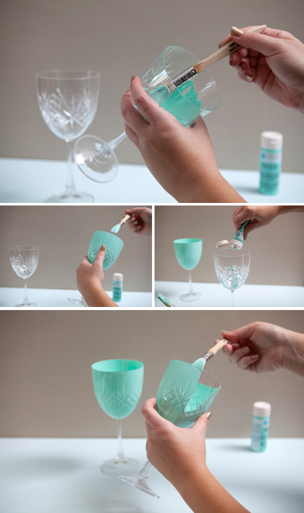 Something Turquoise DIY hand painted wine glasses