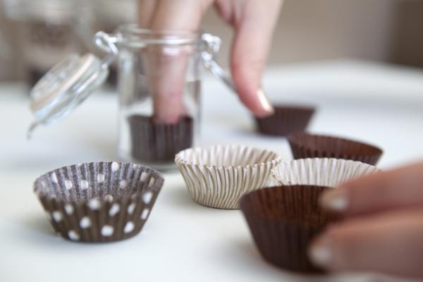 filling chocolate tasting jars