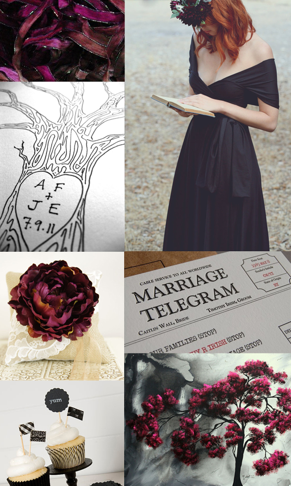 black and burgundy wedding inspiration