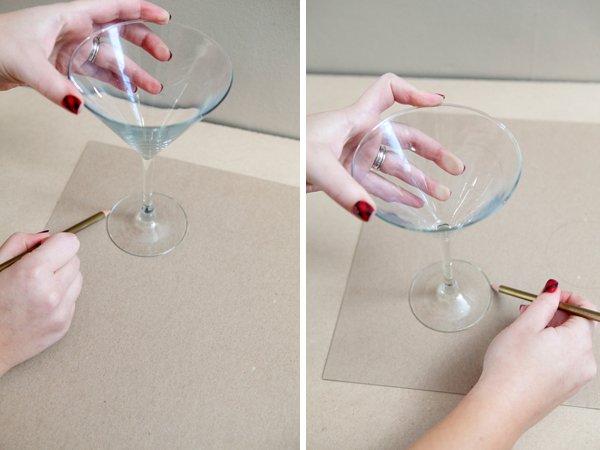 DIY - Chalkboard Paint on the base of Martini Glasses - SomethingTurquoise.com