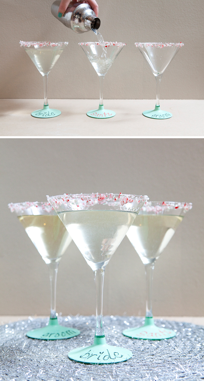 DIY chalkboard paint on Martini Glasses! SomethingTurquoise.com