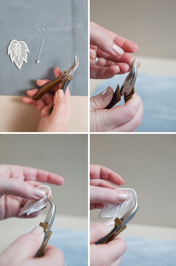 DIY stiffened lace applique earrings