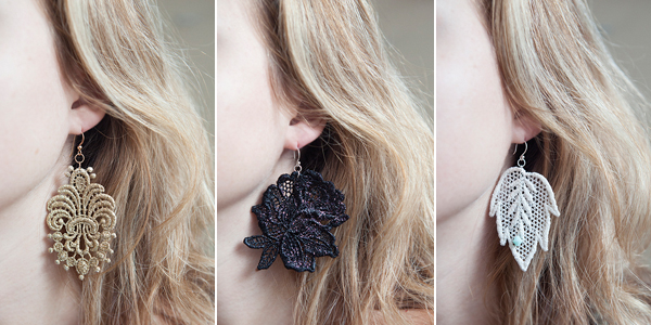 DIY lace applique earrings