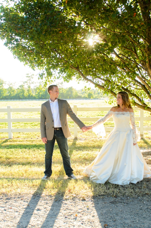 Stunning, rustic bride and groom in her Brides Against Breast Cancer wedding dress!