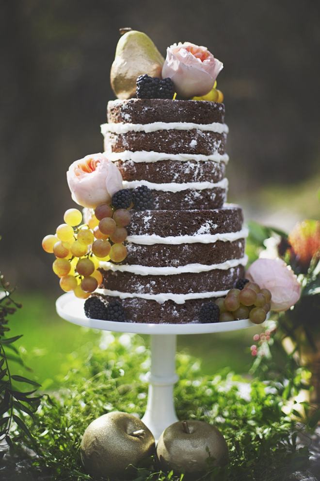 Beautiful chocolate naked wedding cake