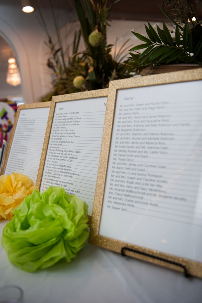 Seating chart frames