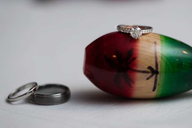 Wedding rings shot on a maraca