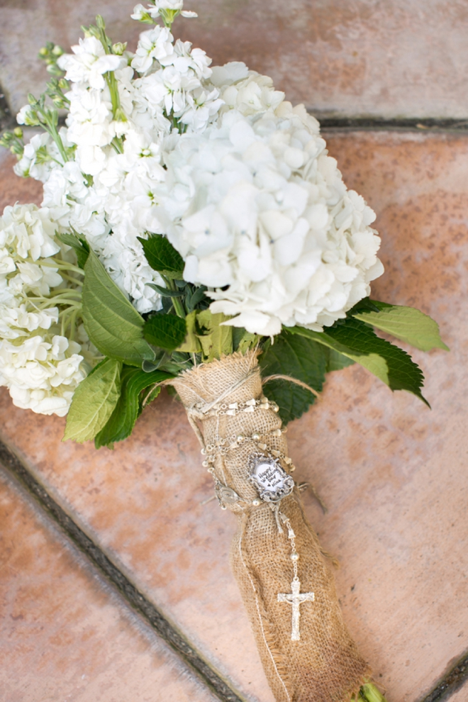 Handmade wedding bouquet with rosary beads