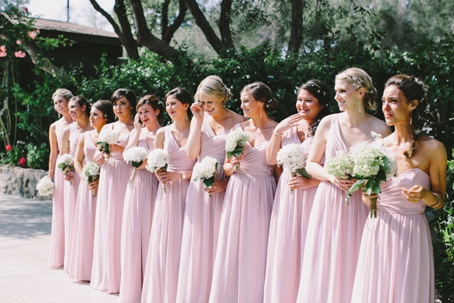 Beautiful pink bridesmaids all in a row
