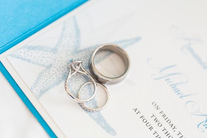 Wedding rings shot on wedding invitation