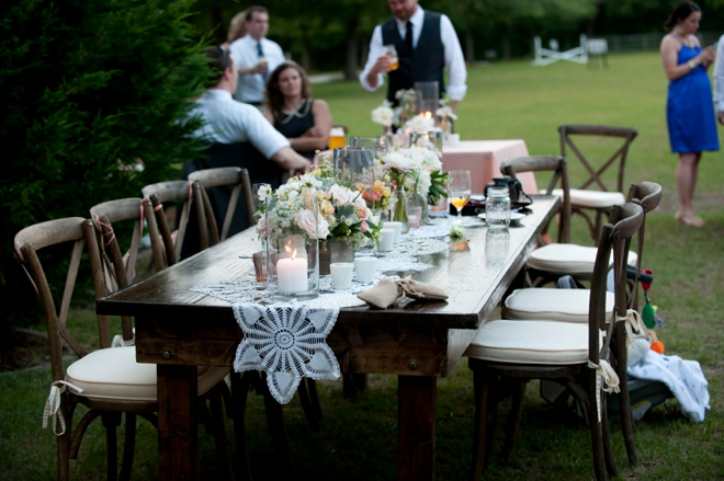 wooden table with doily runner