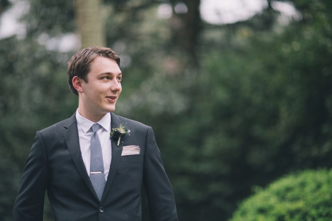 The groom as he first sees his bride