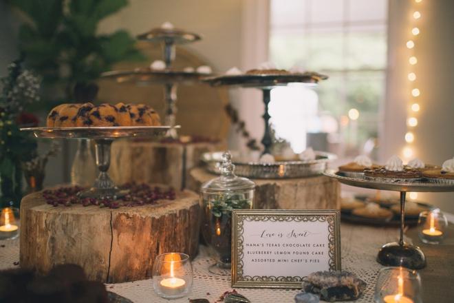 Gorgeous rustic wedding dessert table