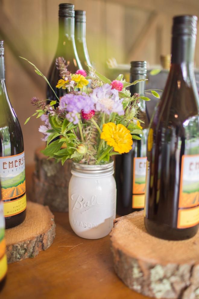 Wine, mason jars and flowers