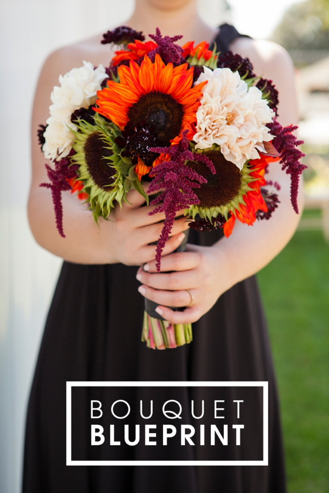 Halloween inspired sunflower wedding bouquet