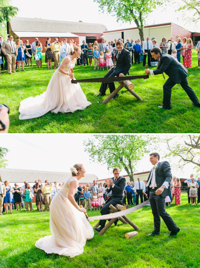Bride and groom sawing a log together