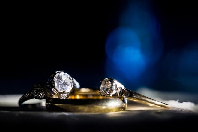 Wedding rings shot at night