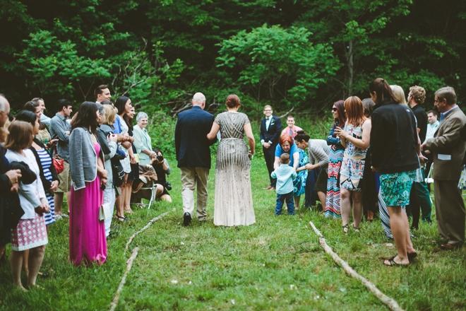 Rustic mountain wedding ceremony