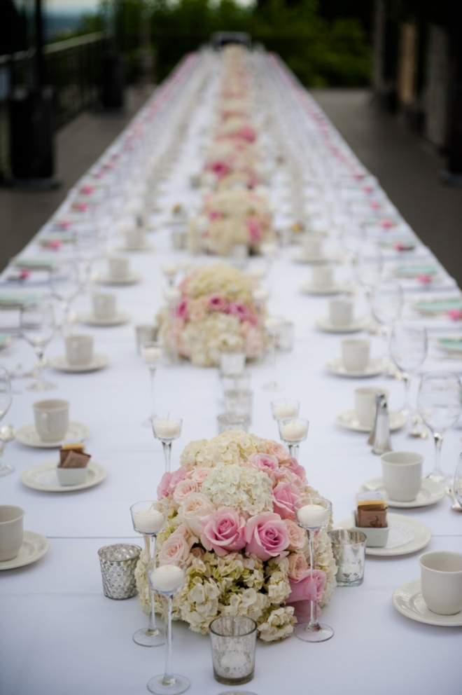 Gorgeous long rectangle wedding table