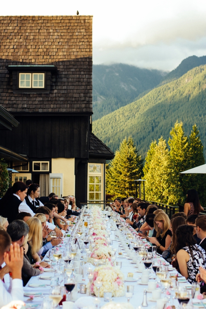100 wedding guests sat at the same table