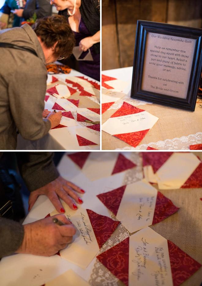 DIY wedding idea - quilt guest book!