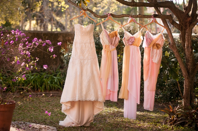 Pale pink vintage wedding - bridesmaids gowns