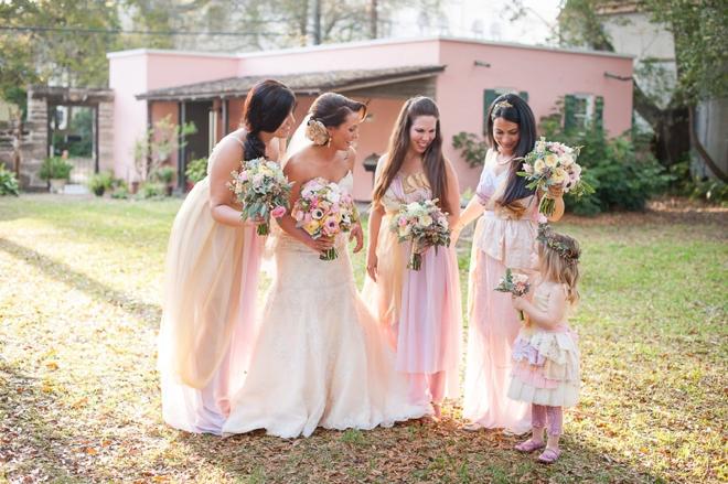 Pale pink vintage wedding