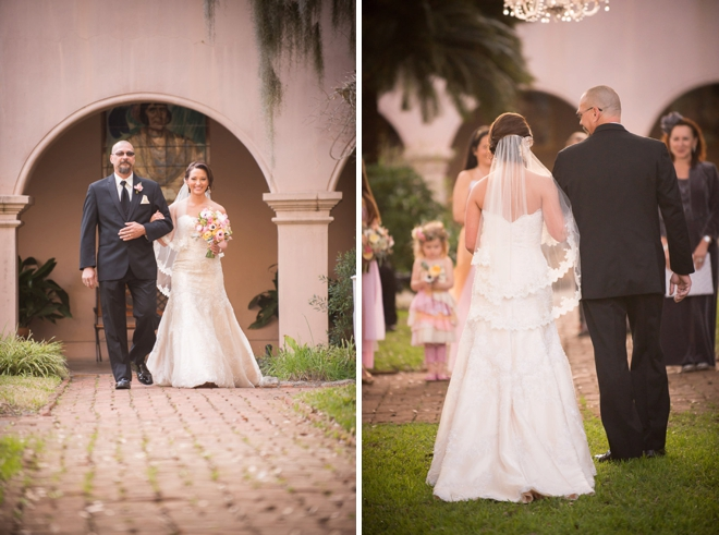 Bride walking with father