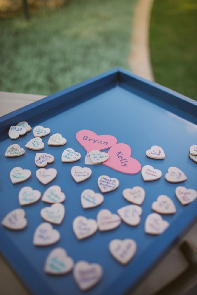 Wooden heart guest book