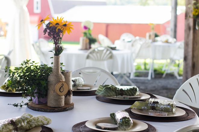 Beautiful DIY mountain wedding tables