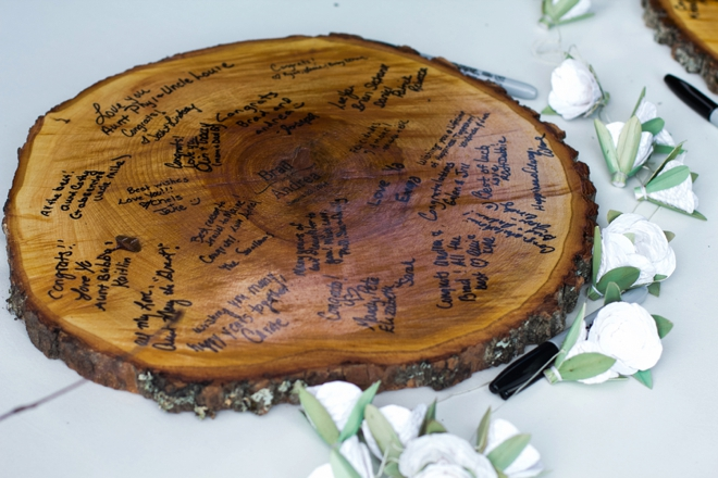 Wood plank guest book