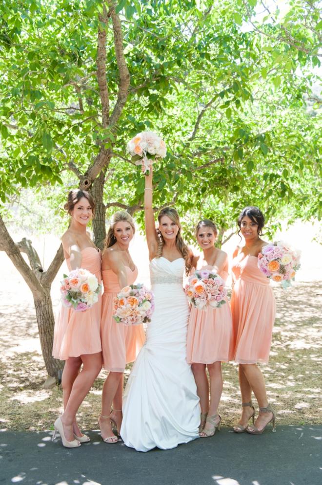 Gorgeous peach bridesmaids